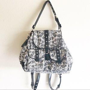Gigi Hill Convertible Backpack Black/White Floral